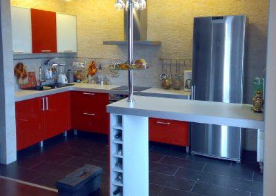 1115. Кухня по поръчка червено МДФ гланц