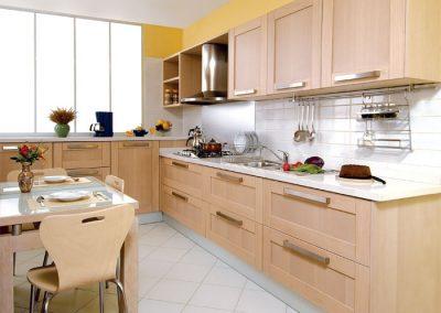 1208. Кухня по поръчка МДФ естествен фурнир бук