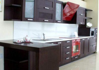 1237. Кухня по поръчка МДФ естествен фурнир цвят венге