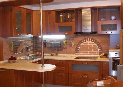 1240. Кухня по поръчка МДФ естествен фурнир цвят череша