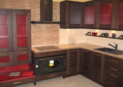 1243. Кухня по поръчка МДФ естествен фурнир цвят венге