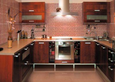 1246. Кухня по поръчка МДФ естествен фурнир цвят махагон
