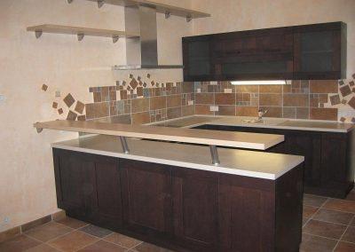 1248. Кухня по поръчка МДФ естествен фурнир цвят венге