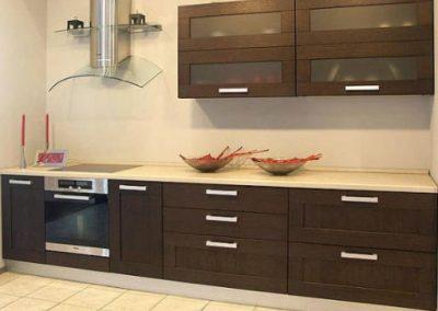 1249. Кухня по поръчка МДФ естествен фурнир цвят тъмен орех
