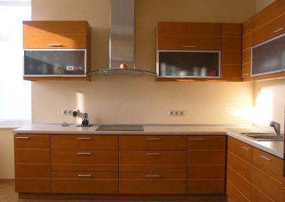 1250. Кухня по поръчка МДФ естествен фурнир бук цвят череша