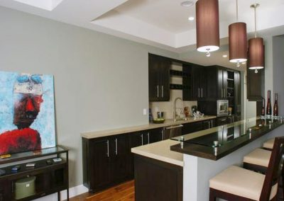 1259. Кухня по поръчка МДФ естествен фурнир цвят венге