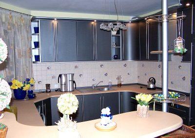 1316. Кухня по поръчка МДФ огъната синя сатен