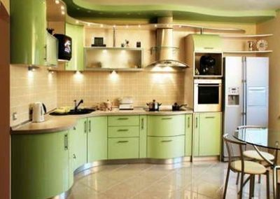 1320. Кухня по поръчка МДФ огъната млечно зелено сатен