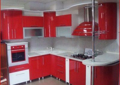 1322. Кухня по поръчка МДФ огъната червено и бяло гланц