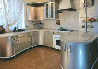 1323. Кухня по поръчка МДФ огъната сребърна перла гланц