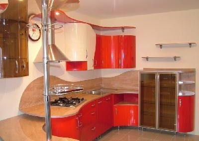 1324. Кухня по поръчка МДФ огъната червено и алабастър гланц