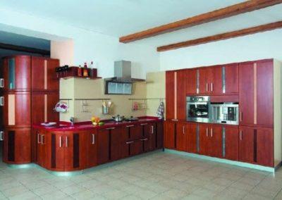 1338. Кухня по поръчка от МДФ огъната фурнир цвят калвадос