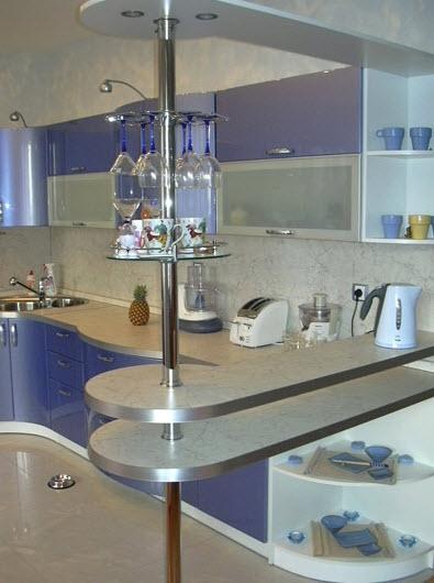 1340. Кухня по поръчка от МДФ огъната синя перла гланц