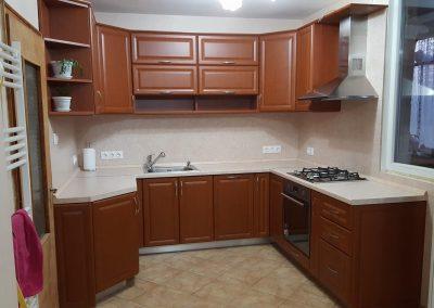 16011. Кухня по поръчка от МДФ с PVC покритие череша
