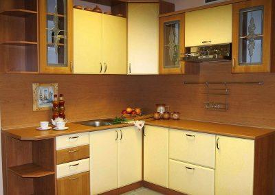 1618. Кухня по поръчка от МДФ с PVC покритие пастелно жълто и череша