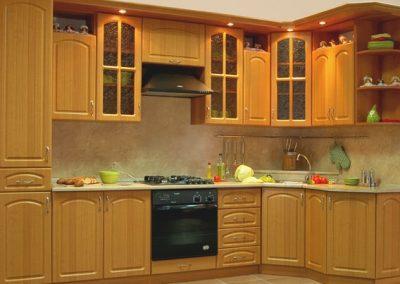 1621. Кухня по поръчка от МДФ с PVC покритие светла череша
