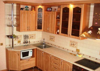 1622. Кухня по поръчка от МДФ с PVC покритие круша