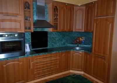 1627. Кухня по поръчка от МДФ с PVC покритие светъл орех