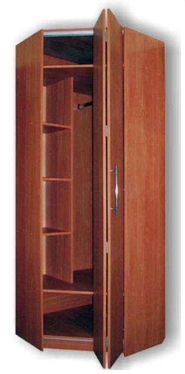 1971. Ъглов гардероб по поръчка с чупещи врати ПДЧ тъмна череша