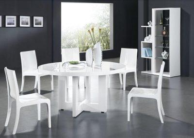 2202. Кръгла маса за хранене по поръчка бяла гланц