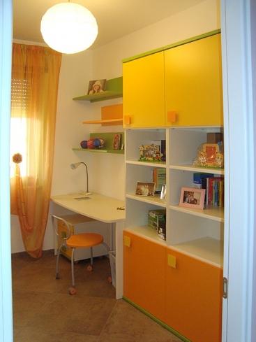2406. Секция за детска стая по поръчка от МДФ оранжево,жълто,зелено и бяло