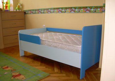 2407. Детско легло по поръчка за матрак 14070 от МДФ светло и тъмно синьо