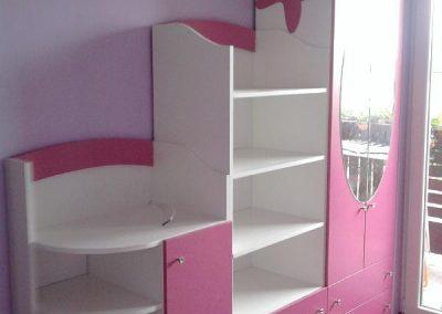 2419. Обзавеждане за детска стая по поръчка от ПДЧ и МДФ бяло и розово
