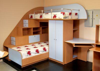 2421. Обзавеждане за детска стая по поръчка от ПДЧ бук и синьо с двуетажно легло