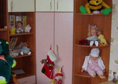 2437. Обзавеждане за детска стая по поръчка от ПДЧ калвадос и МДФ розово и слонова кост