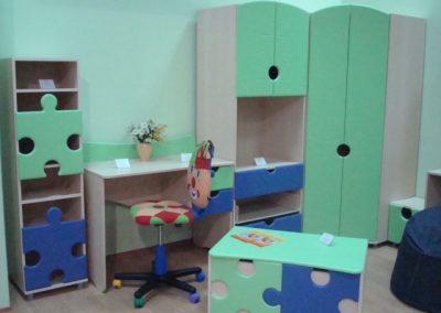 2440. Обзавеждане за детска стая Пъзел по поръчка от ПДЧ и МДФ синьо,светло зелено и сиво