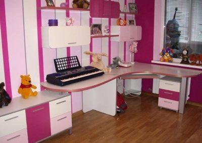 2443. Обзавеждане за детска стая по поръчка от ПДЧ и МДФ цикламено, розово и бяло