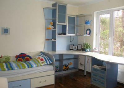 2454. Обзавеждане за детска стая по поръчка от ПДЧ синьо,алуминий и бледо жълто