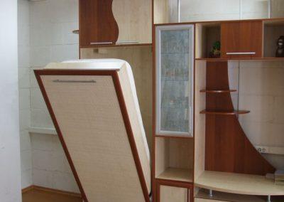2460. Обзавеждане за детска стая по поръчка от ПДЧ тъмен калвадос и бреза с падащо легло