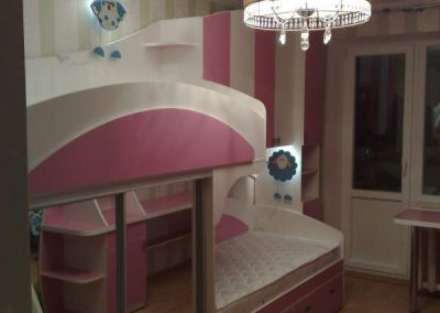 2470. Обзавеждане за детска стая по поръчка от ПДЧ бяло и розово
